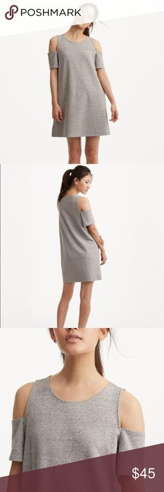 """Lou & Grey Terry Cold Shoulder Dress So comfy! Stretchy soft material with adorable cut out detail on shoulders. Size xs. Fits loosely. Measures 17.5"""" underarm to underarm and 33.5"""" in length. Good condition. Ask any questions! Lou & Grey Dresses"""