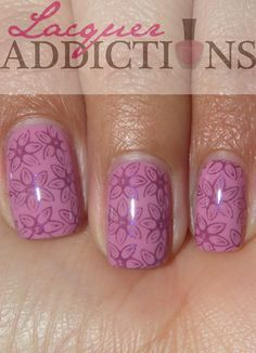 Ulta's Vintage Violet-stamped BM-211-with Essie's Sexy Divide. Lacquer Addictions nail blog.