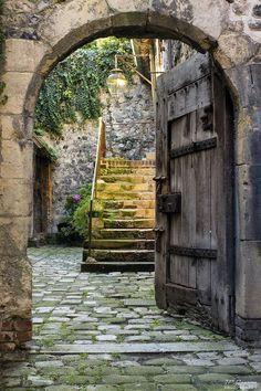 Medieval doorway in Honfleur, Lower Normandy, France Cool Doors, The Doors, Unique Doors, Windows And Doors, Honfleur, Door Knockers, Garden Gates, Doorway, Stairways