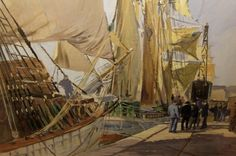 Les terre-neuviers Madiana et Armoricain à quai dans le bassin Duguay-Trouin à Saint-Malo - Roger Chapelet (Peintre Officiel de la Marine)