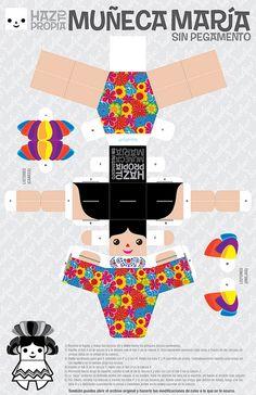 Muñeca María (Paper toy) by Capitán Solo, via Flickr  https://www.dropbox.com/s/35iwpztpdsmqq0g/maria_paper_toy_ByN.pdf?dl=0  https://www.dropbox.com/s/q9284o34l7n5o97/maria_paper_toy.pdf?dl=0