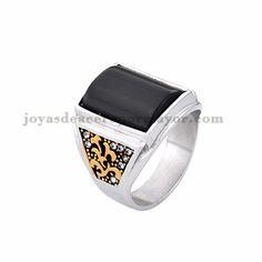 anillo de piedra negra moda en acero plateado inoxidable -SSRGG371848