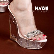 T24452 Kvoll Rhinestone Transparent Platform Wedge Slipper White [T24452] - $26.75 : China,Korean,Japan Fashion clothing wholesale and Dropship online-Be the most beautiful Lady