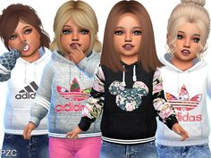 The Sims 4 Adidas Hoodies For Toddler The Sims 4 Kids, Toddler Cc Sims 4, Sims 4 Toddler Clothes, The Sims 4 Pc, Sims 4 Cc Kids Clothing, Sims 4 Children, Toddler Outfits, Toddler Girl, Girl Clothing