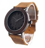 Fashion Wooden Watch  2 Hand Quartz Movement  Wood, Leather, stainless steel  Shock resistant  Weight = 48 g  Band length = 250 mm