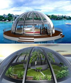 Inspired by a fishing bobber, the house has a flotation belt and is half-submerged for stability even in the face of large waves. An upper-level garden grabs all those harsh rays of sunlight, which are also harvested for power. Floating Architecture, Futuristic Architecture, Architecture Design, Floating House, Floating In Water, Bubble Tent, Water House, Dome House, Unusual Homes