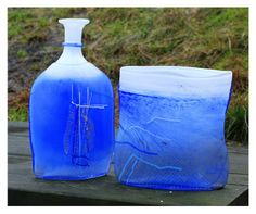 Hadeland AQUA Old And New, Norway, Scandinavian, Mid Century, Vase, Bottle, Design, Decor, Decoration