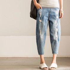 Blue vintage women's jeans