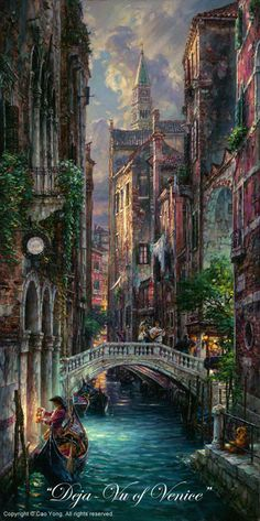 "CAO YONG ""Deja-Vu of Venice"" LIMITED EDITION H/E CANVAS 24"" by 12"" Cao Yong In 1962, Cao Yong was born into in China. During the Cultural Revolution, his family was singled out for harsh treatment by"