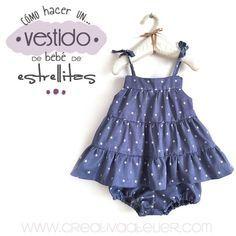 Tutorial para confeccionar un vestido de bebé #costura #bebé #sewing Sewing Baby Clothes, Cute Baby Clothes, Baby Sewing, Doll Clothes, Sewing Patterns For Kids, Sewing For Kids, Clothing Patterns, Girls Dresses, Summer Dresses