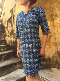 Tunic Dress, Cotton - INDIGO - Summer House NZ
