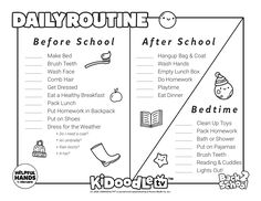 Download this daily routine task list and color it in to make it your own!  #KidoodleTV #SafeStreaming After School, School Days, Back To School, Preschool At Home, Do Homework, Clean Shoes, Grade 3, How To Make Bed, Face Wash
