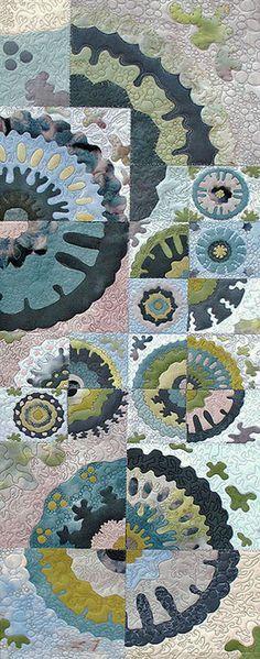 Lichens on Limestone II by Liz Brooke Ward - Stitched Textiles