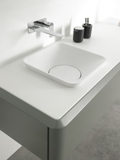 Square Cristalplant® washbasin Semi-inset washbasin Fluent Collection by INBANI | design Arik Levy