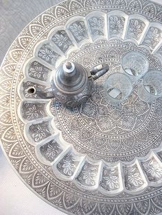 Beautifully decorated Moroccan plate and Tea pot. www.facebook.com/Welcome.Morocco