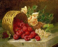 Eloise Harriet Stannard Overturned Basket with Raspberries, White Currants and Roses, 1882