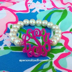 Pearls always match the Monogram! http://www.pinterest.com/SratStylista/