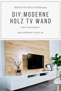DIY TV-Wand aus Holz bauen Step by step instructions: DIY wood TV wall TV wall make yourself Diy Tv, Tv Wand Diy, Tv Wanddekor, Tv Wall Decor, Wall Tv, Wall Wood, Diy Holz, Amazing Decor, Living Room Tv