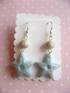 Kawaii cute baby blue sea star rhinestone pearl by VIRAhandmade, $8.00