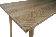 Scandinavian Mid Century Modern Herringbone Table Modern | Etsy Plywood Kitchen, Herringbone, Mid-century Modern, Scandinavian, Mid Century, Dining Tables, Diy, Furniture, Vintage