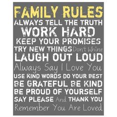 Ptm Images Gray Family Rules Wall Art ($120) ❤ liked on Polyvore featuring home, home decor, wall art, quotes, art, text, multi, phrase, saying and word wall art