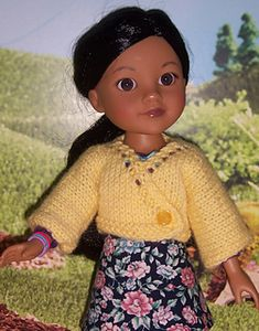 Using less than 1 oz. of DK or sport weight yarn, this cute little sweater is super quick and easy to knit for the Les Cheries and Hearts4Hearts dolls.