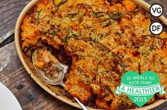 Jamie's vegan shepherd's pie recipe is a warm and comforting treat; topped with a root mash and breadcrumbs this vegan shepherds pie is a real crowd pleaser.