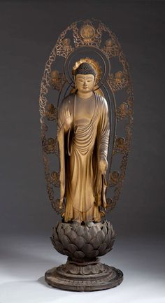 """""""Kamakura: Realism and Spirituality in the Sculpture of Japan"""" examines the interplay of realism and the sacred in more than thirty Buddhist masterpieces from the Kamakura period Buddha Temple, Buddha Buddhism, Buddha Art, Standing Buddha Statue, Asian Sculptures, Mahayana Buddhism, Amitabha Buddha, Statues, Thai Art"""