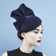Gina Foster Millinery - Imperial - Large Beret Hat with Wave Velour felt beret with velour felt wave trim. Made to sit on the right side of the head and secured with an elastic that sits under the hair.