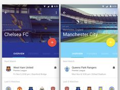 Football (Soccer) App Screens -- good use of colors based on context / content