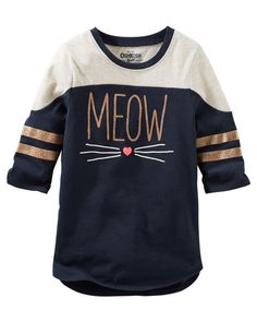With rose gold foil prints and whiskers, this is one of our new TLC faves. Pair it with cat print leggings for a pet-friendly look she'll love!<br>
