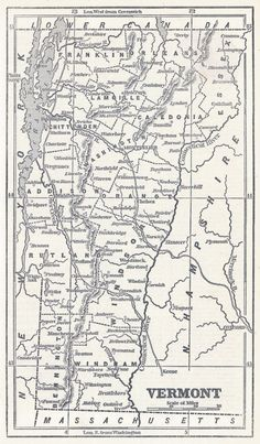Morses Rail Road And Township Map Of Vermont And NewHampshire - United states map vermont