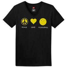 Peace Love PickleBall Hanes® Ladies ComfortSoft® S/S V-Neck