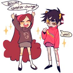 Homestuck X gravity falls. Karkat and mabel sweater swap TWO LARGE FANDOMS OF MINE COLLIDE HOLY FUCKING BALLS AAABHHHH