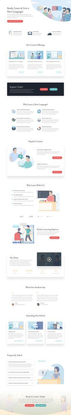 Language School Landing Page Website Design Inspiration, Landing Page Inspiration, Website Design Layout, Web Layout, Layout Design, Website Designs, App Design, Design Ideas, Site Wordpress