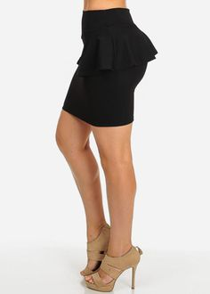 Black Peplum Pencil Mini Skirt