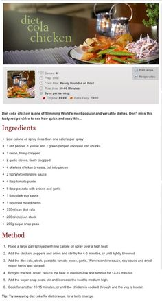 Diet coke Chicken / Slimming World No link just picture of recipe