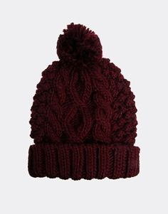 Beanie with Cable Pom