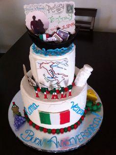 Italy Themed Anniversary Cake ~ Italiano ~ Buon Anniversario.  Cake by: Bella Baby Cakes