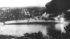 German cruiser Blücher capsized after being hit by Norwegian shore batteries near Oslo during the German invasion of Norway, 9 April 1940.