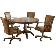 Hillsdale Furniture Grand Bay 5 Piece Round Medium Oak Dining Set With  Caster Chairs