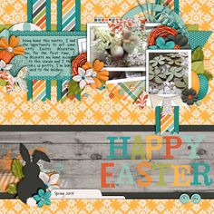 Happy Easter Bunny Tracks by Libby Pritchett Template from Set 195 by Cindy Schneider digital scrapbooking layout, mistyhilltops.com