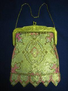 ~Whiting & Davis~Enamel Mesh Bag~Circa 1920s~