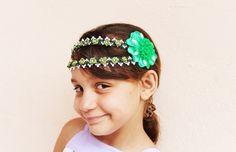 Headband de Flores de Tecido Verde - Rede AliançaRede Aliança