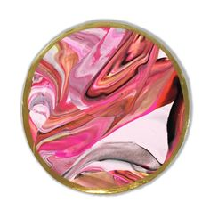 Pink and Red Marbled Clay Coaster