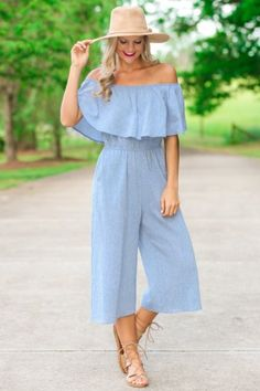 Fringe Best of Summer Chambray Off-the-Shoulder Jumpsuit | Red Dress Boutique
