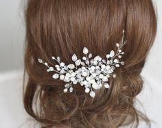 Peine de pelo nupcial. Crystalsal y perla nupcial por SvetloDesign