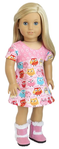American Girl Doll Clothes.  Pink Owl Dress. by SillyMonkeyInc