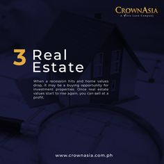 Stocks can perform even during a recession – you just need to know which ones. Here are five investments to consider when a recession hits. Investment Tips, Investment Property, Real Estate Values, Elegant Homes, 5 Things, Philippines, Investing, Asia