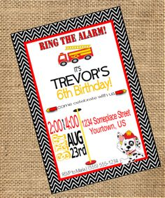 Fire Rescue Birthday Party Invitation  |  Digital DIY  |  Firetruck  |  Fire Rescue Pup  |  Red, Yellow, Black and White- Southern Outdoor Cinema event planning tip for promoting an outdoor event.